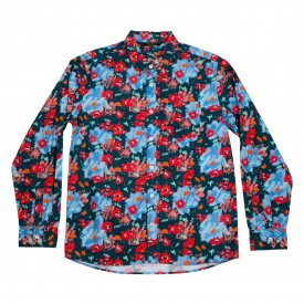 POLER Shirt FLORAL FANTASIA BUTTON UP LS blue steel floral fantasia print