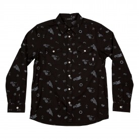 POLER Shirt WHEELIE BUTTON UP TWO POCKET LS black wheelie print