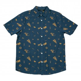 POLER Shirt SS WHEELIE BUTTON UP blue steel wheelie print