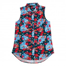 POLER Womens Shirt BUTTON UP OWL TANK SLEEVELESS blue steel floral fantasia print