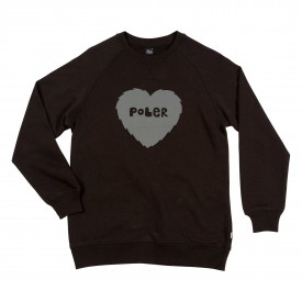 POLER Womens Sweat FURRY HEART Crew black