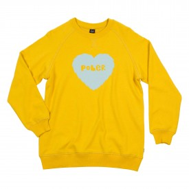 POLER Womens Sweat FURRY HEART Crew golden rod