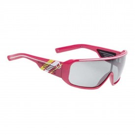 SPY Sunglasses TRON, PINK W/ WHITE YELLOW STR - GR w/ SILVER GRAD MIRR